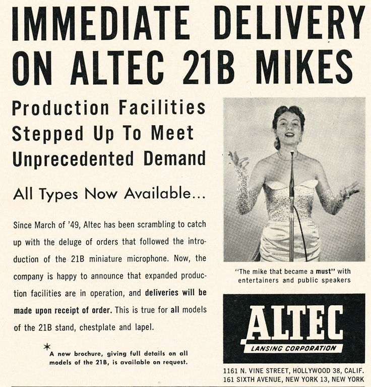 1950 ad for the Altec 21B microphone in   Reel2ReelTexas.com's vintage recording collection