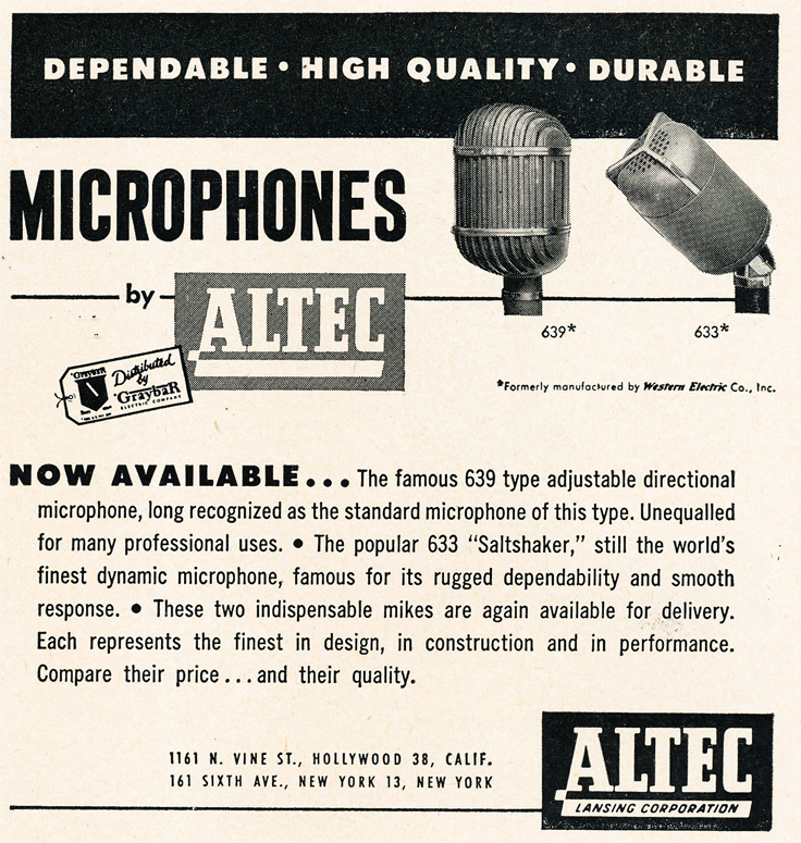 1950 ad for Altec microphones in   Reel2ReelTexas.com's vintage recording collection