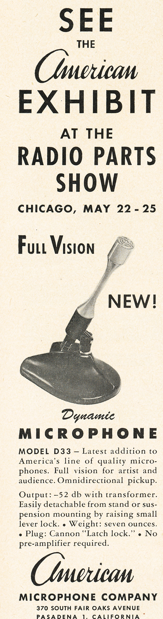1950 ad for American microphnes in   Reel2ReelTexas.com's vintage recording collection