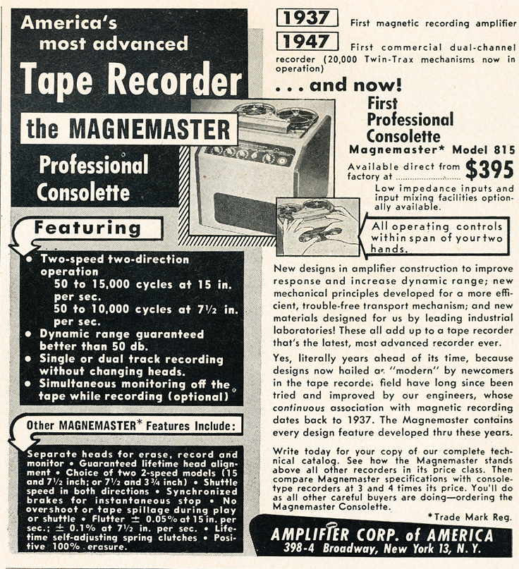 1950 ad for Amplifier Corporations Magnemaster reel tape rcorders in Reel2ReelTexas.com's vintage recording collection