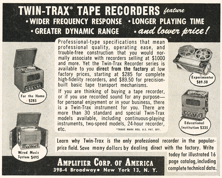 1950 ad for Amplifier Corporations Twin Trax reel tape rcorders in Reel2ReelTexas.com's vintage recording collection