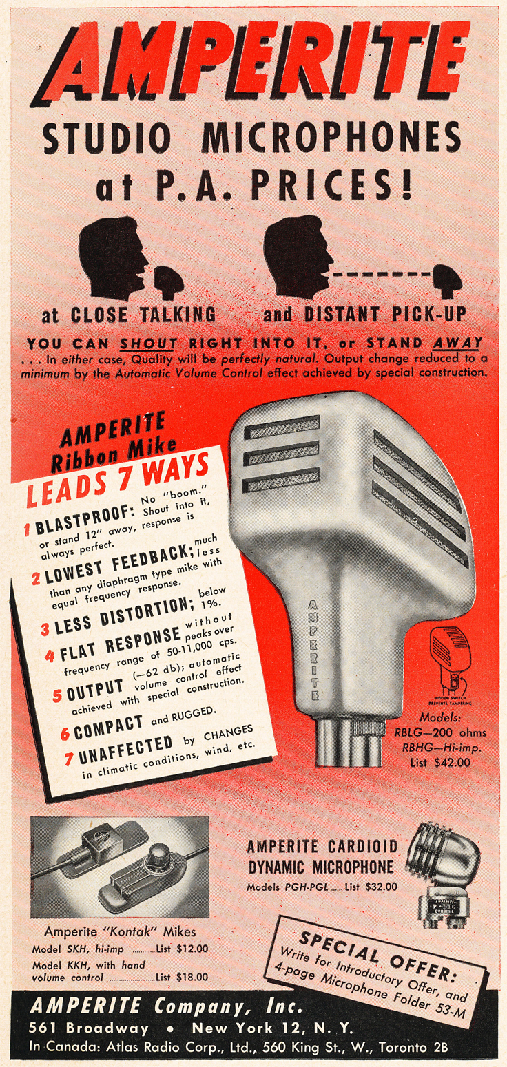 1950 ad for Amperite microphones in Reel2ReelTexas.com's vintage recording collection