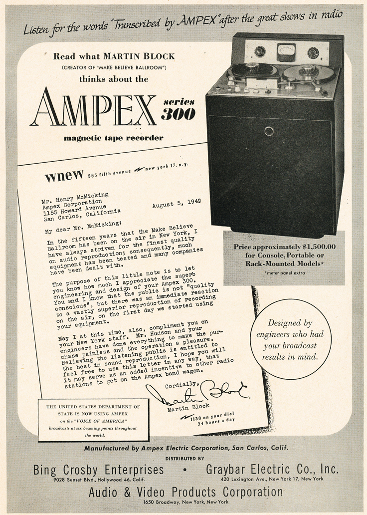 1950 ad for the Ampex 300 professional reel to reel tape recorder in Reel2ReelTexas.com's vintage recording collection