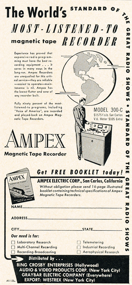 1950 ad for the Ampex 300C professional reel to reel tape recorder in Reel2ReelTexas.com's vintage recording collection