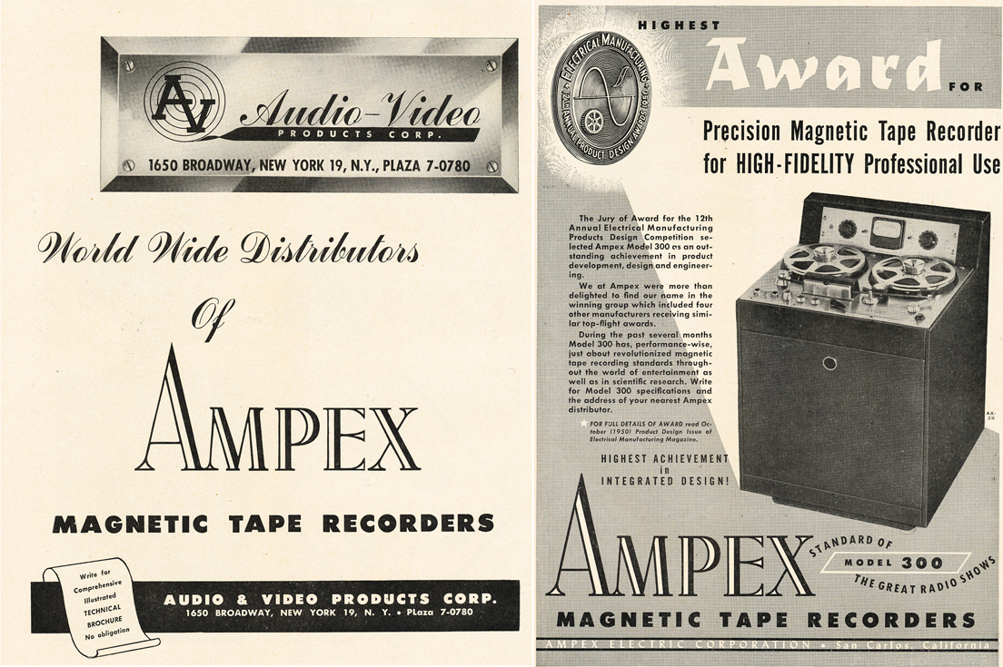 1950 Award ad for the Ampex professional reel to reel tape recorder in Phantom Productions' vintage ecording collection