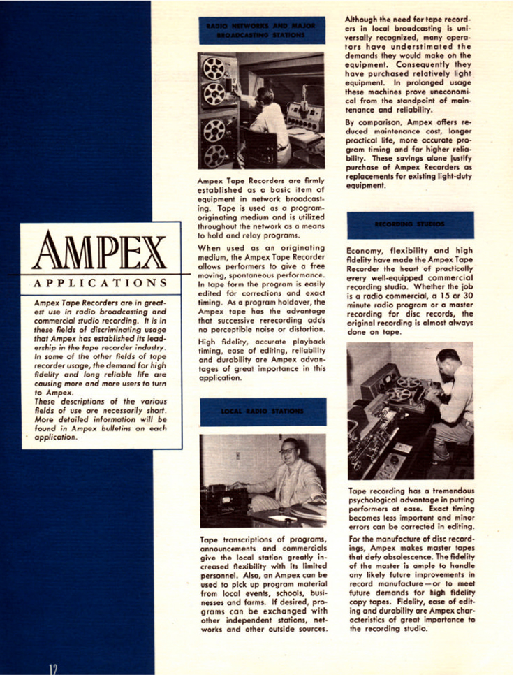 1950 brochure for Ampex professional reel to reel tape recorders in Phantom Productions'vintage recording collection