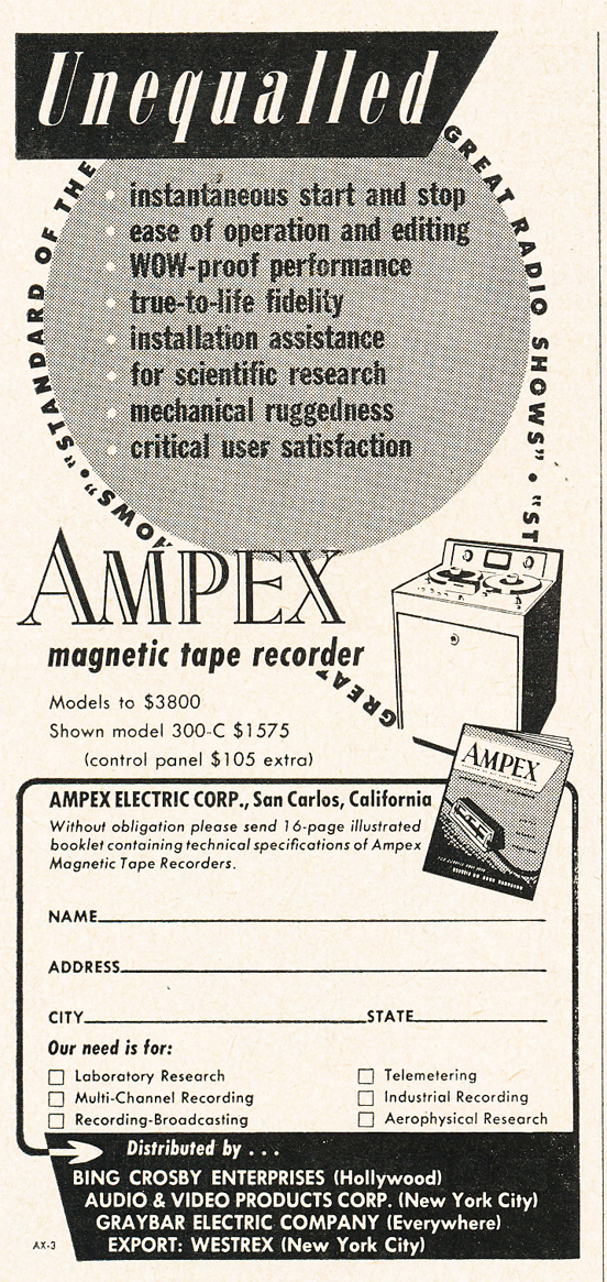 1950 ad for the Ampex professional reel to reel tape recorder catalog in Phantom Productions' vintage ecording collection