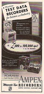 1951 ad for Ampex Instrumentation reel to reel tape recorders in Reel2ReelTexas.com's vintage recording collection