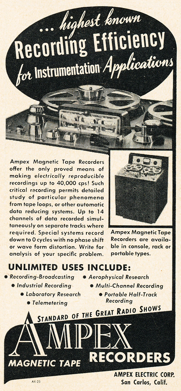1950 ad for the Ampex professional instrumentation reel to reel tape recorder in Phantom Productions' vintage ecording collection