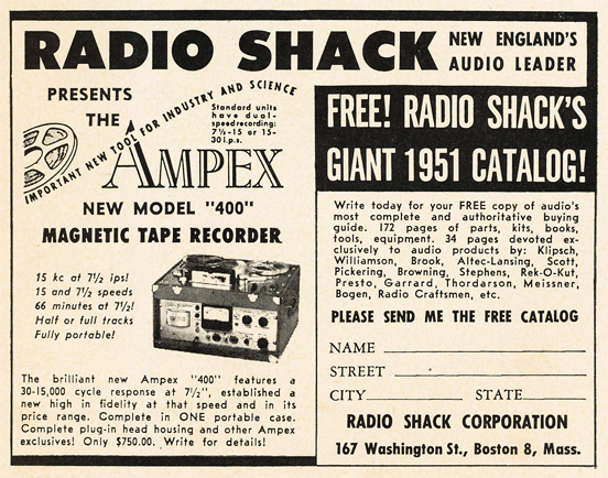 1950 Radio Shack ad for the Ampex professional reel to reel tape recorder in Phantom Productions' vintage ecording collection