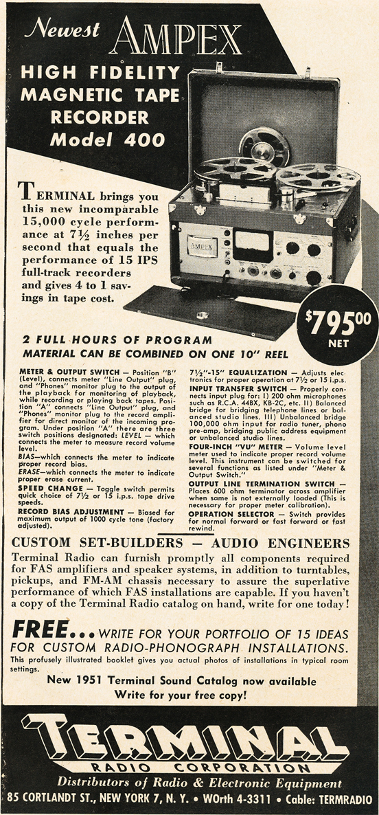 1950 Terminal ad for the Ampex professional reel to reel tape recorder in Phantom Productions' vintage ecording collection