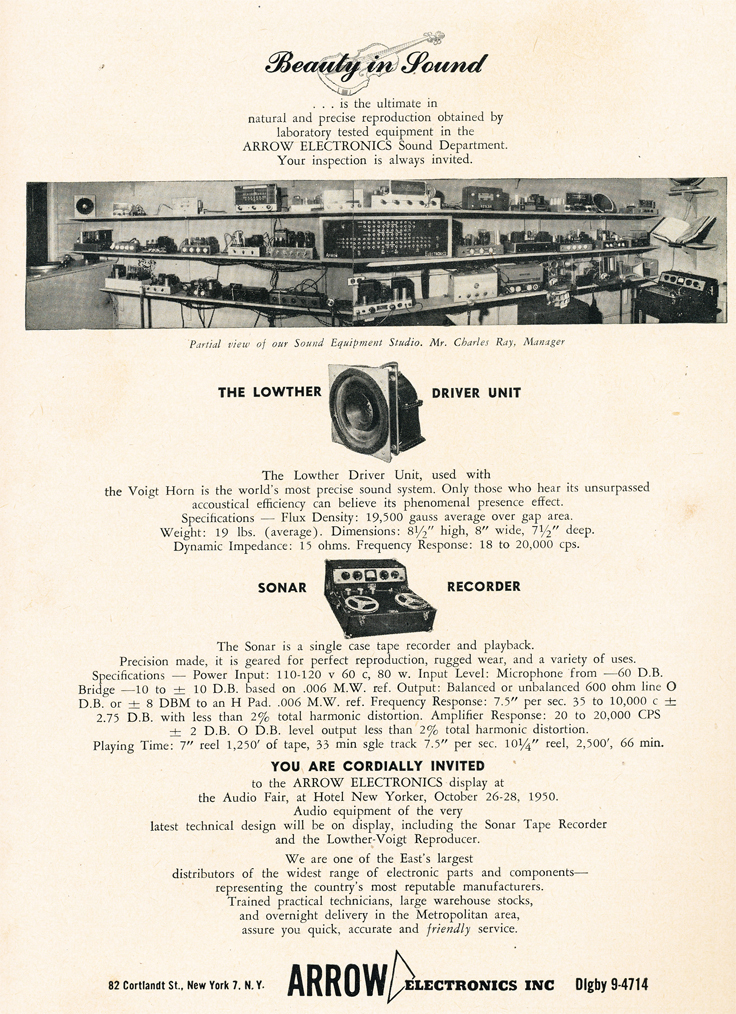 1950 ad for Arrow Electronics featuring Sonar reel tape recorders  in Reel2ReelTexas.com's vintage recording collection