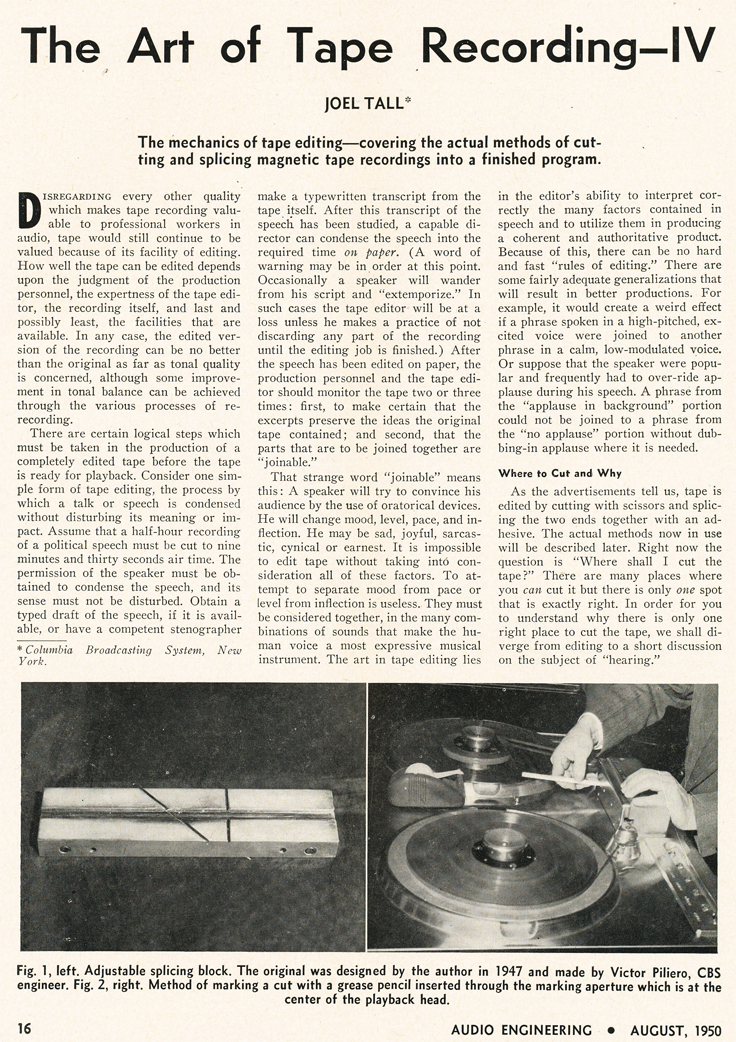 1950 article about tape recording
