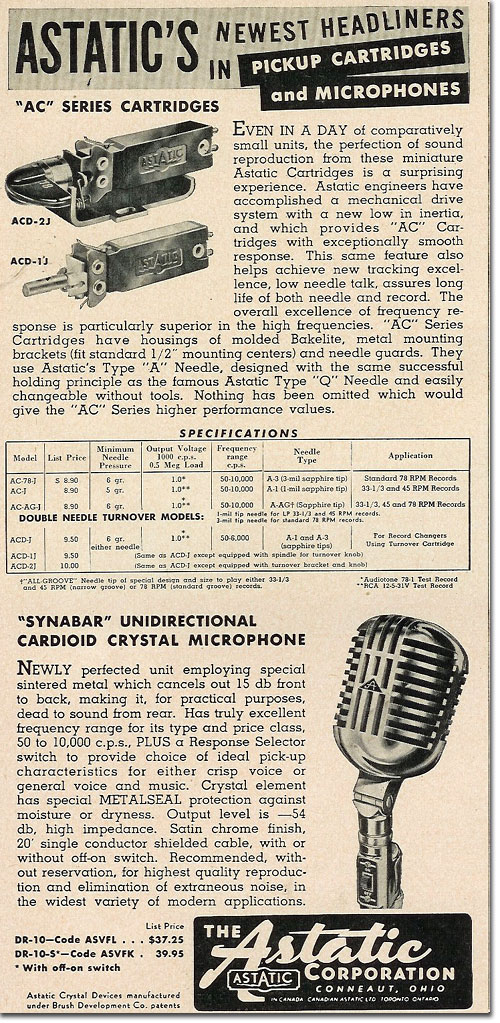 picture of 1950 Astatic microphone ad