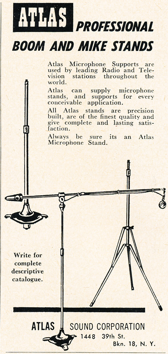 1950 ad for Atlas microphone stands in Reel2ReelTexas.com's vintage recording collection