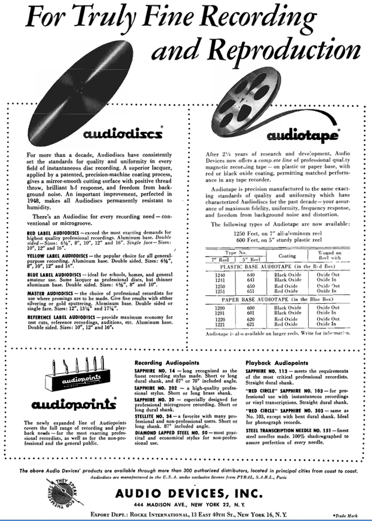 1950 Audio Devices ad in Reel2ReelTexas.com's vintage recording collection