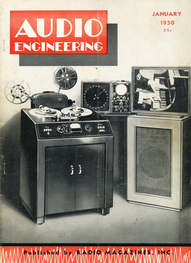 January 1950 cover of the Audio Engineering magazine in Reel2ReelTexas.com's vintage recording collection