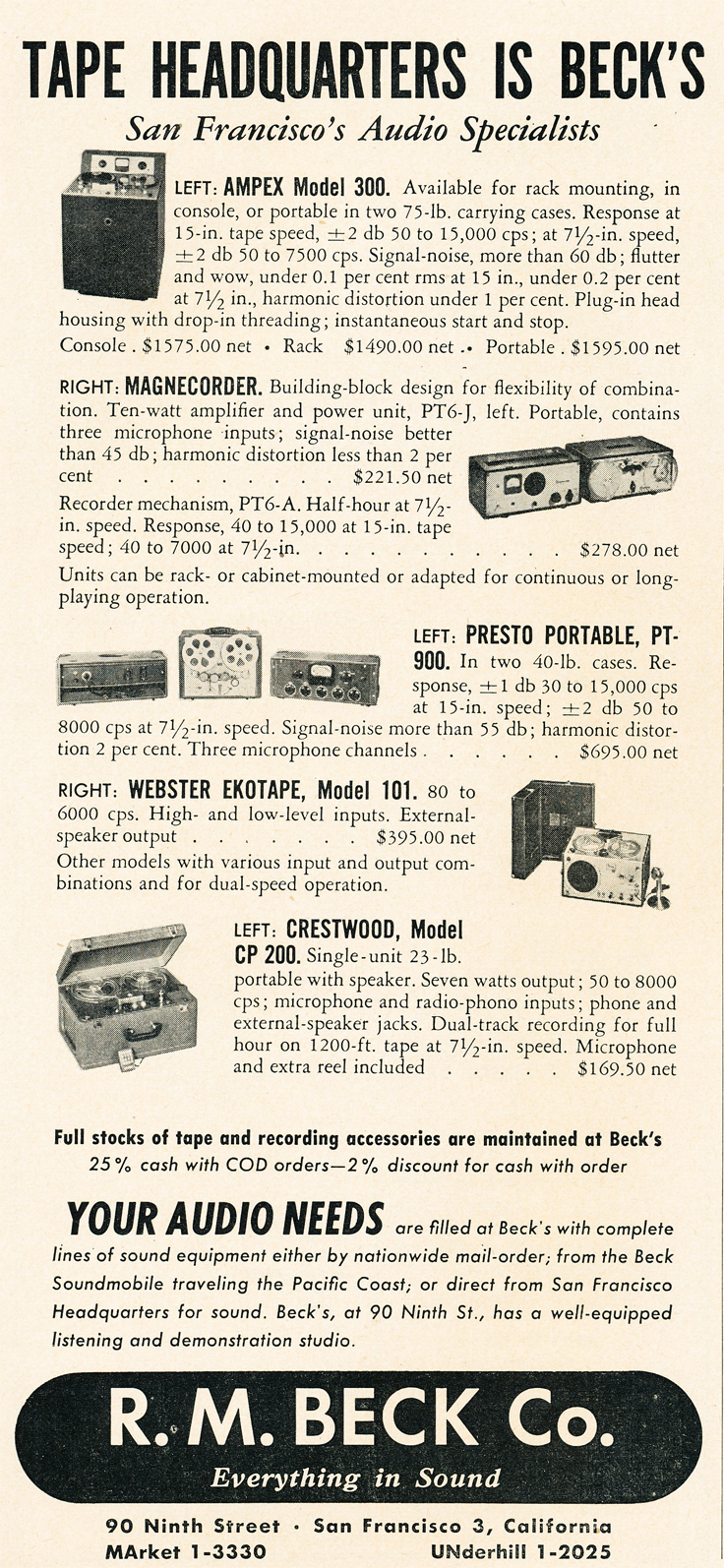 1950 ad for E. M. Becks in Reel2ReelTexas.com's vintage recording collection