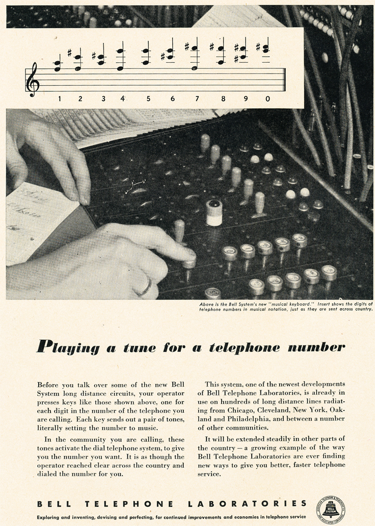 1950 ad for Bell Labs introducing tones to dialing