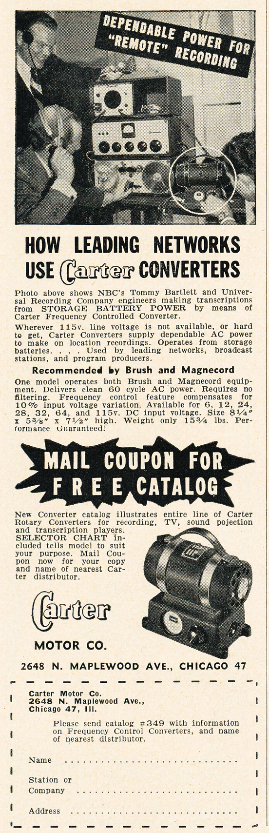 1950 ad for Carter power converters  ad in Reel2ReelTexas.com's vintage recording collection