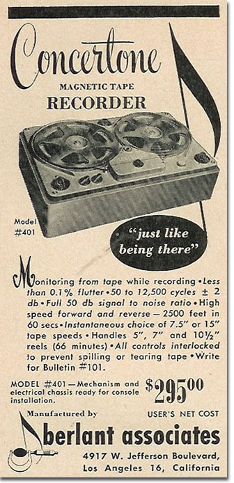 picture of 1950 Concertone tape recorder ad