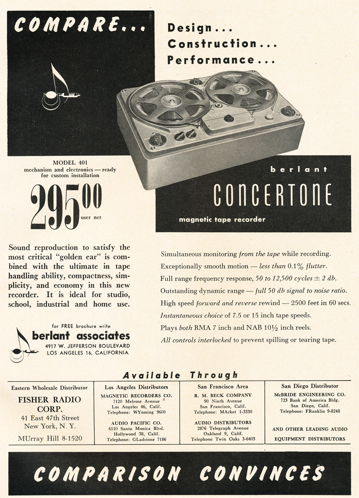 1950 ad for Concertone professional reel to reel tape recorders in Reel2ReelTexas.com's vintage recording collection