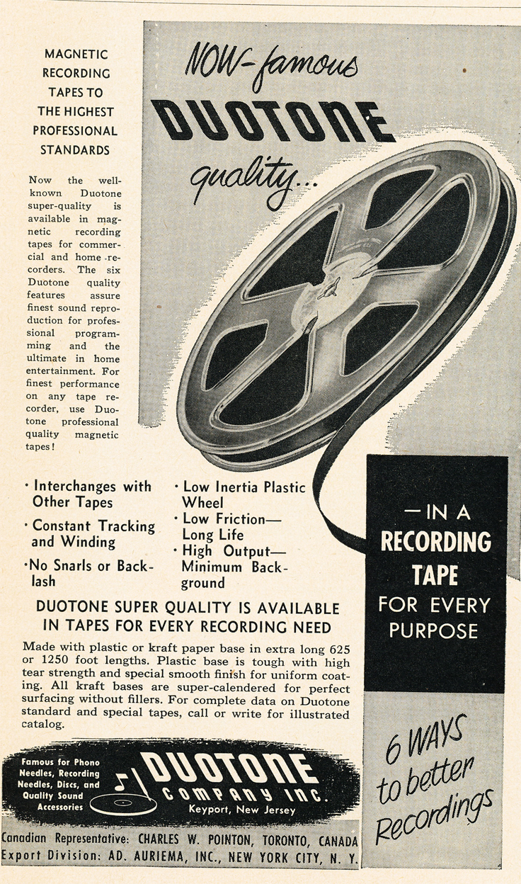 1950 ad for DuoTone reel to reel recording tape  in Reel2ReelTexas.com's vintage recording collection