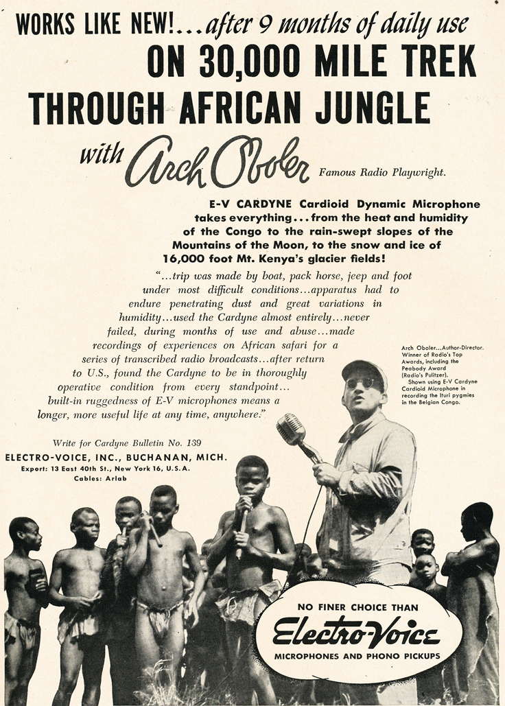 1950 ad for Electro Voice microphones profiling the use in Africa in Reel2ReelTexas.com's vintage recording collection