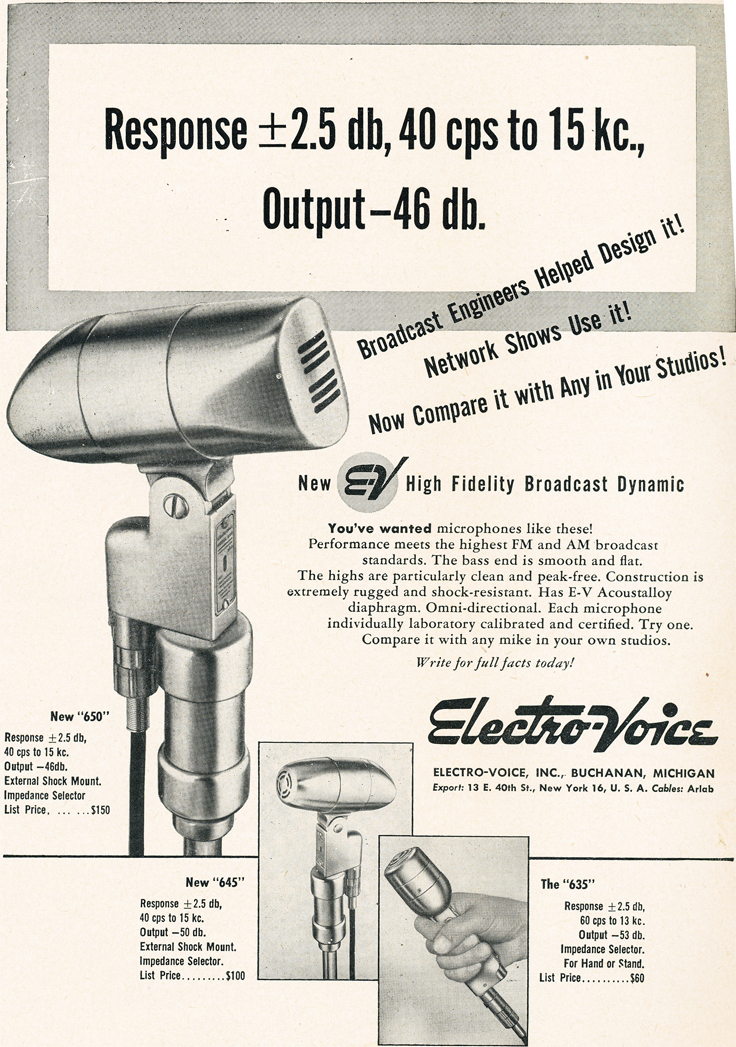 1950 ad for Electro Voice broadcast microphones in Reel2ReelTexas.com's vintage recording collection