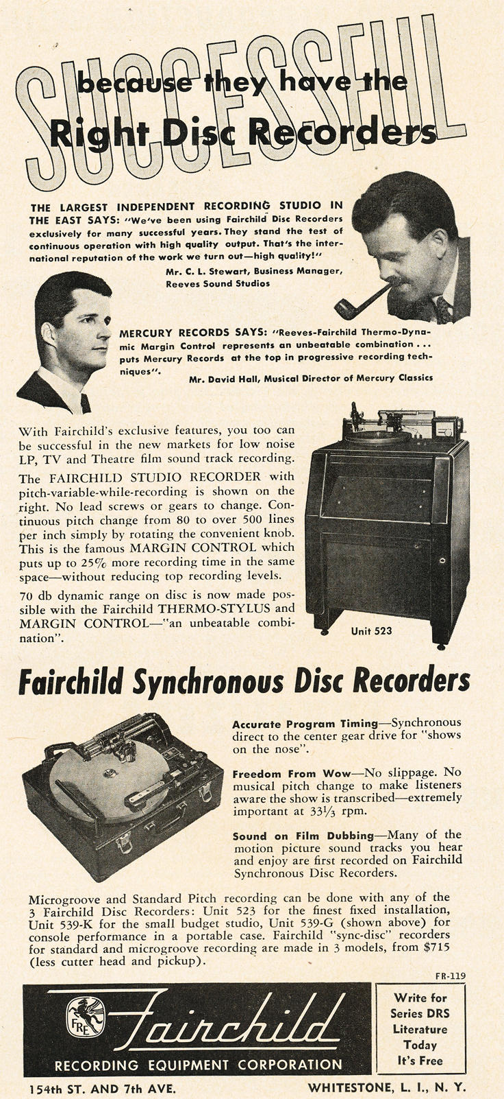 1950 ad for Fairchild professional disk cutters in Reel2ReelTexas.com's vintage recording collection