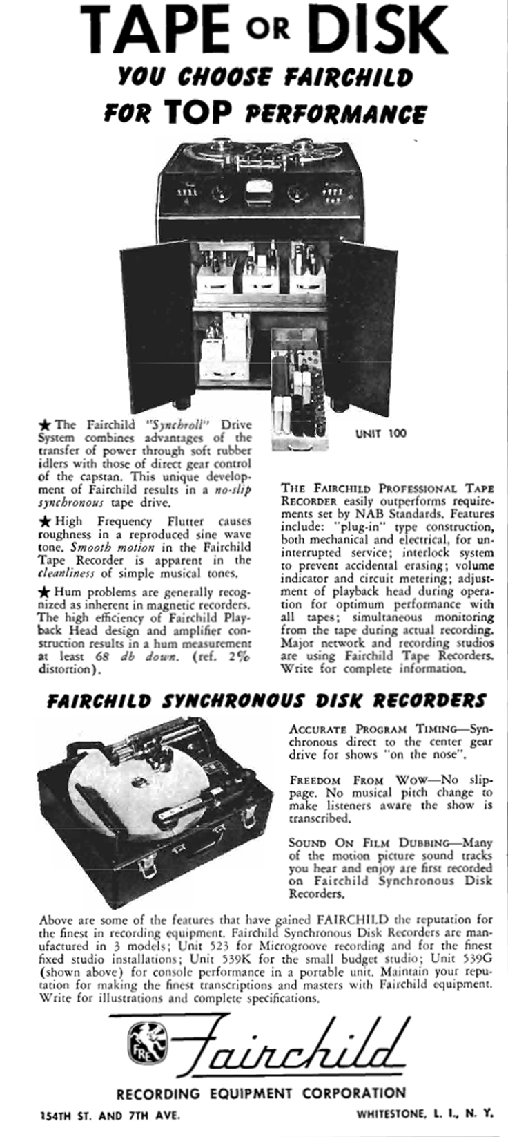 1950 ad for Fairchild professional reel to reel tape recorders in Reel2ReelTexas.com's vintage recording collection