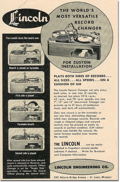 picture of 1950 Lincoln Record Changer ad