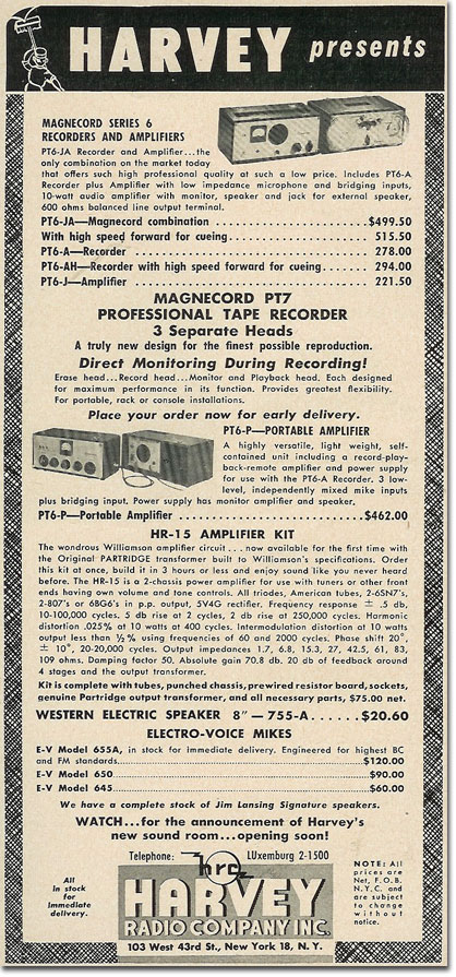 picture of 1950 Magnecorder tape recorder ad