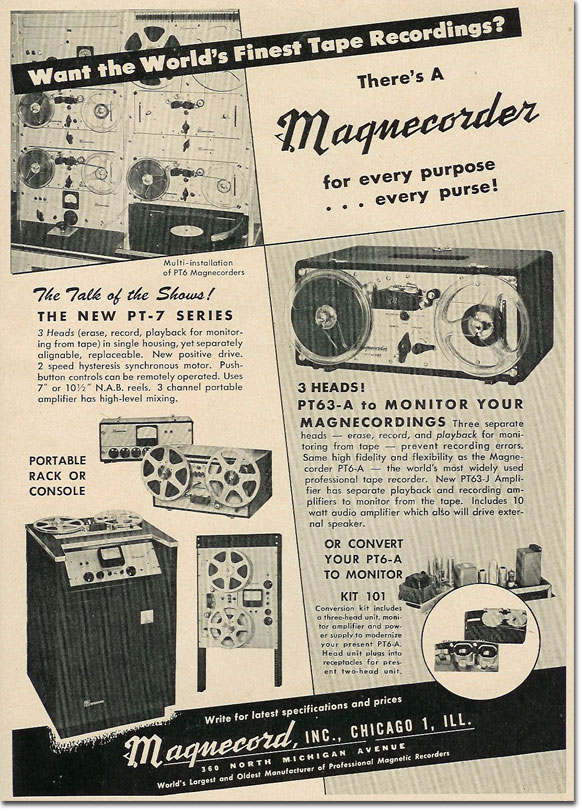 picture of 1950 Magnecord tape recorder ad