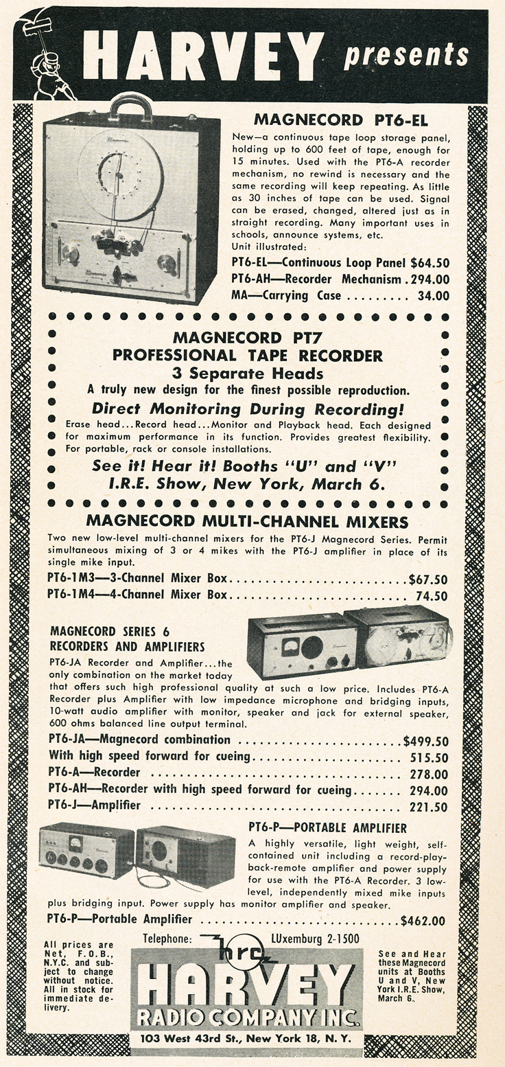 1950 ad for Magnecord Continuous Loop professional reel to reel tape recorders in Reel2ReelTexas.com's vintage recording collection
