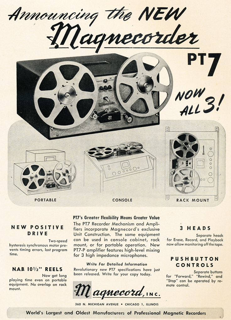 1950 ad for Magnecorder PT7 professional reel to reel tape recorders in Reel2ReelTexas.com's vintage recording collection