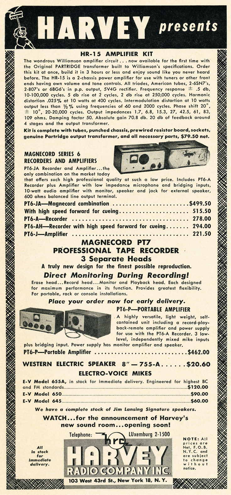1950 Harvey advertisement for Magnecord tape recorders in Reel2ReelTexas.com's vintage recording collection