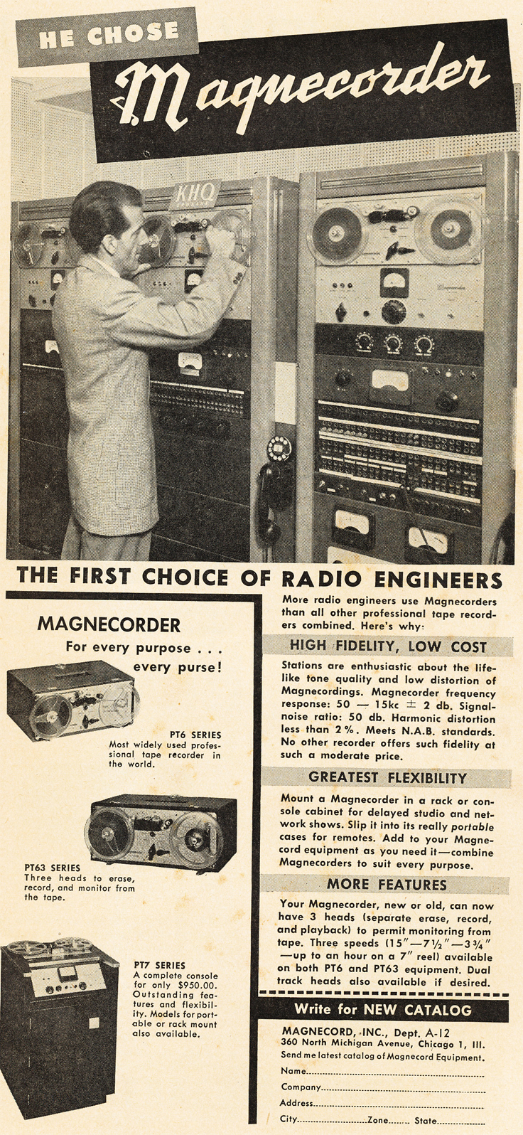 1950 ad for Magnecorder professional reel to reel tape recorders in Reel2ReelTexas.com's vintage recording collection