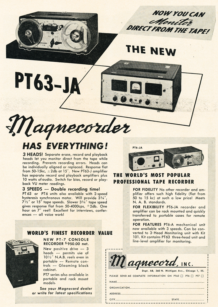 1950 ad for Magnecorder PT63 JA  professional reel to reel tape recorders in Reel2ReelTexas.com's vintage recording collection