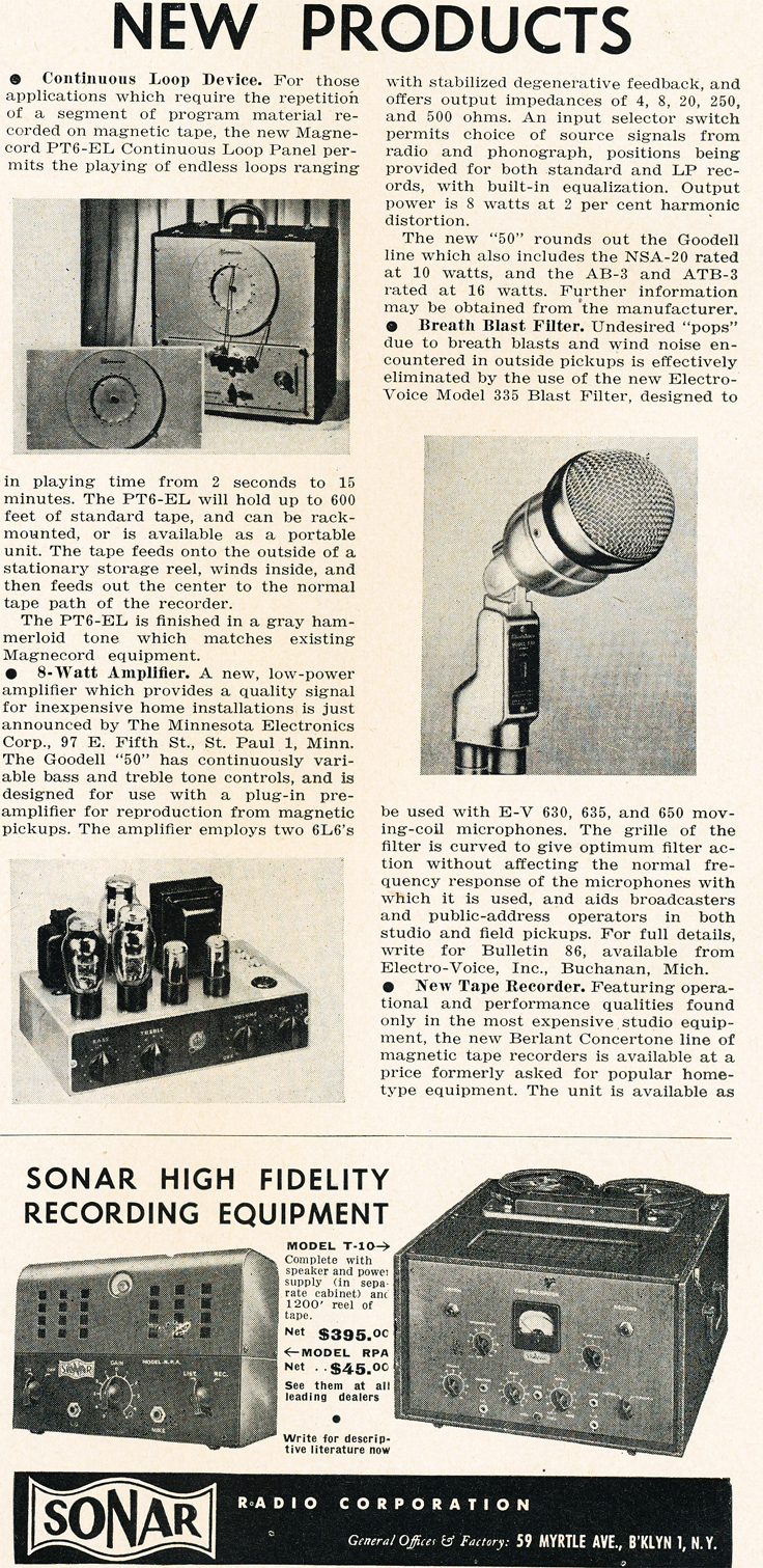 1950 New Products listing in Reel2ReelTexas.com's vintage recording collection
