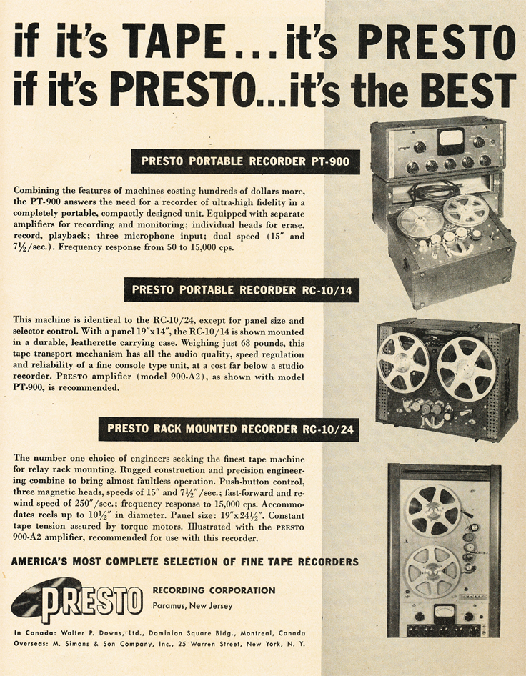 Presto ads from 1950 in the Museum of Magnetic Sound Recording