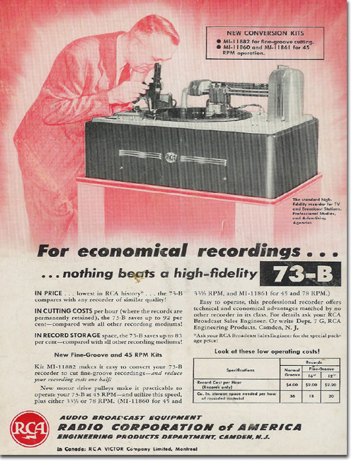 picture of 1950 RCA record cutting ad