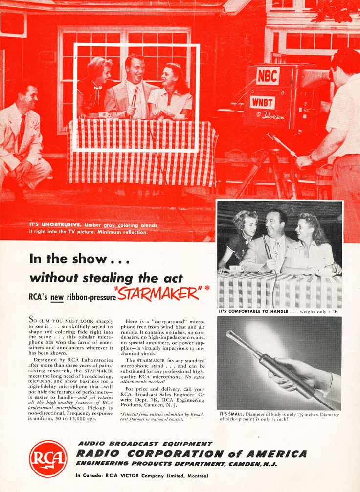 "1950 ad for the RCA ""Starmaker"" microphone in Reel2ReelTexas.com's vintage recording collection"