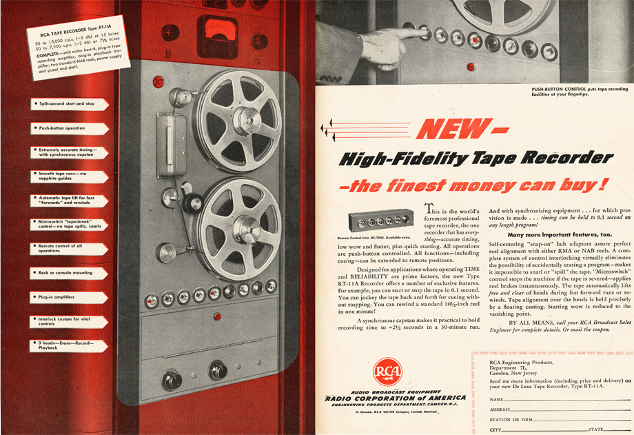 1950 ad for RCA professional reel to reel tape recorders in Reel2ReelTexas.com's vintage recording collection