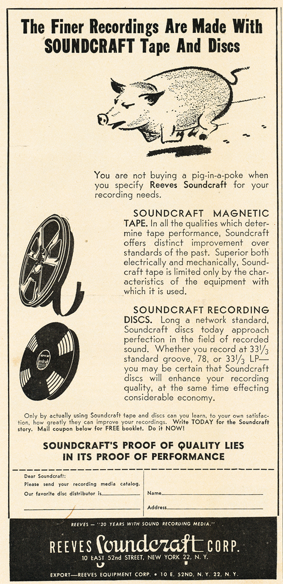 1950 ad for Reeves Soundcraft in   Reel2ReelTexas.com's vintage recording collection