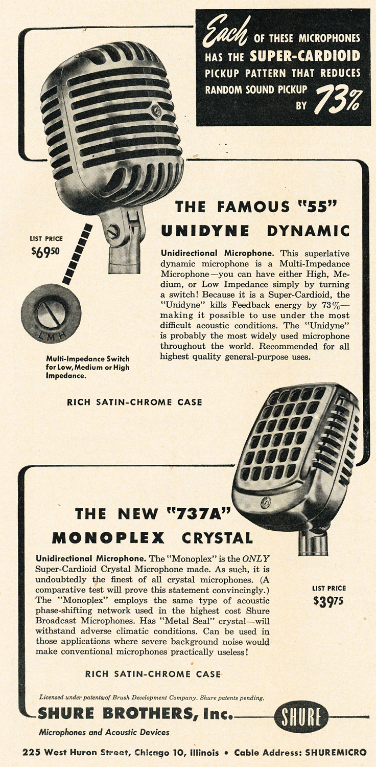1950 ad for the Shure 55 and 737A microphones in Reel2ReelTexas.com's vintage recording collection