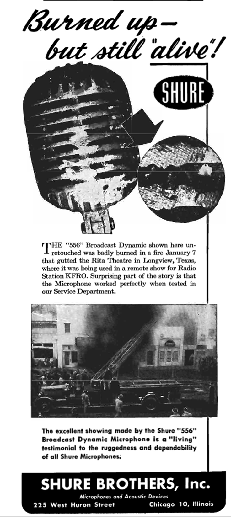 1950 Shure 556 microphone ad showing that it was still working after being in a fire