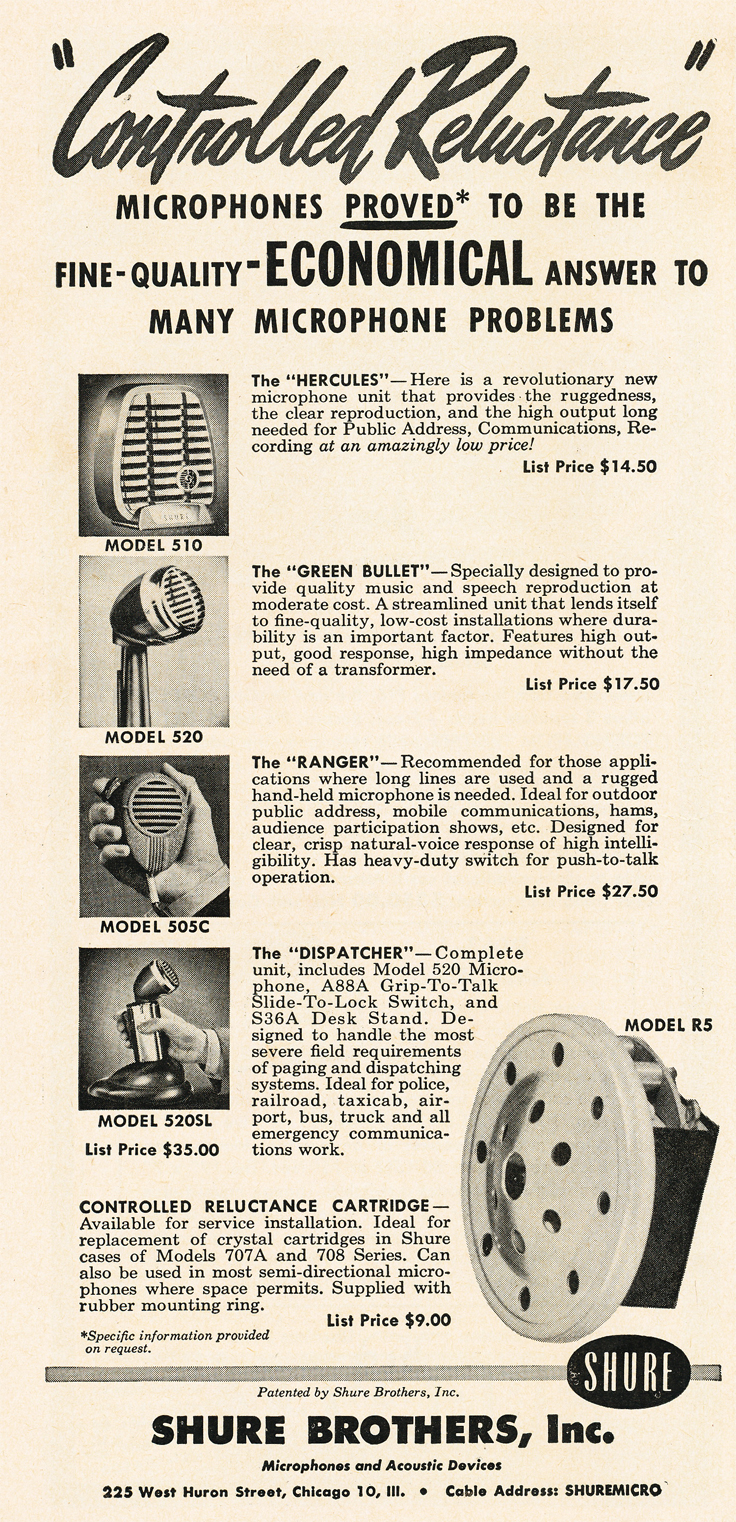 1950 ad for Shure microphones in Reel2ReelTexas.com's vintage recording collection