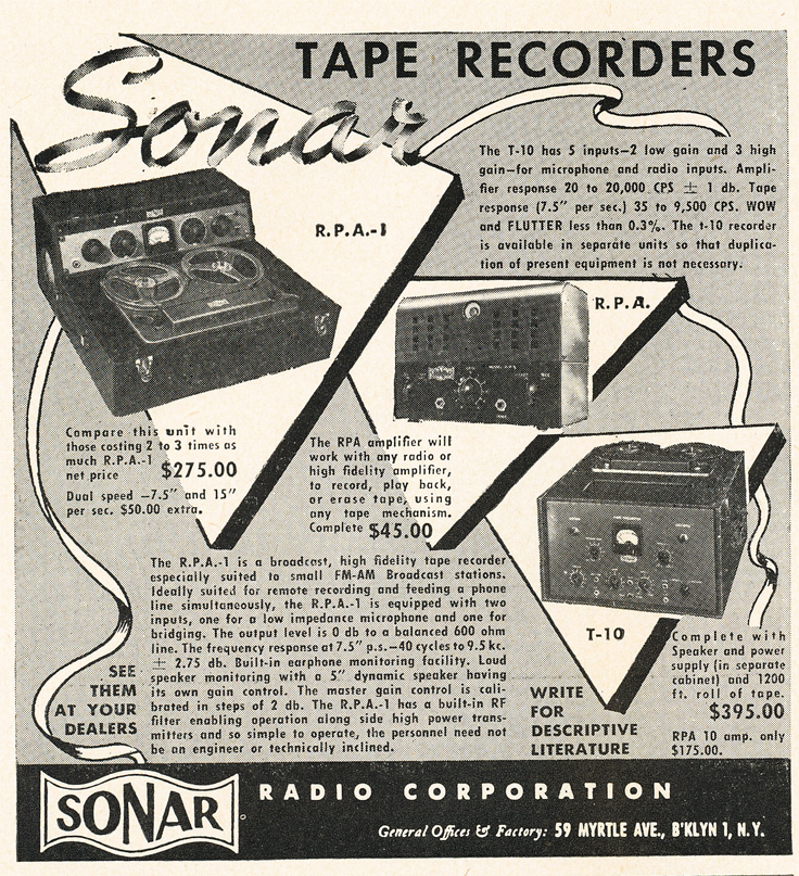 1950 ad for Sonar reel to reel tape recorders in Reel2ReelTexas.com's vintage recording collection