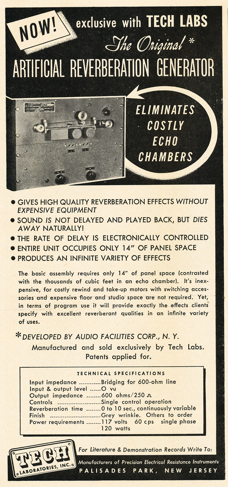 1950 ad for the Tech Labs reverbration unit  in Reel2ReelTexas.com's vintage recording collection